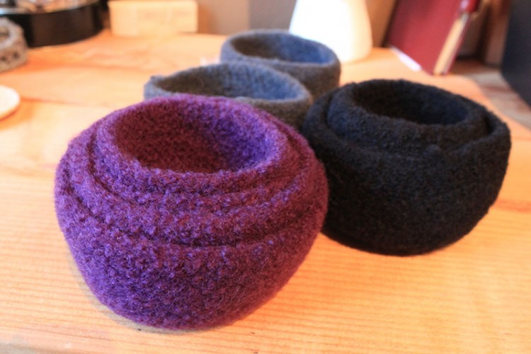crochet, felted bowls, washing machine, felt, jewelry holder, decorative bowl, bowls, cloth bowls,