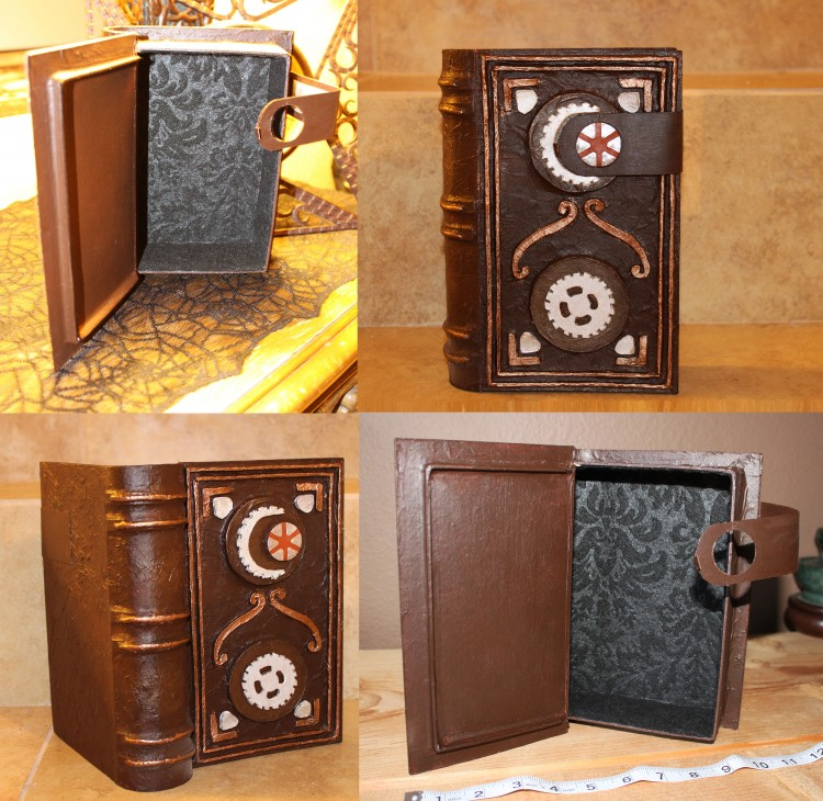 Secret Compartment, Hollowed, Book Safe with Black Damask Felt Lining